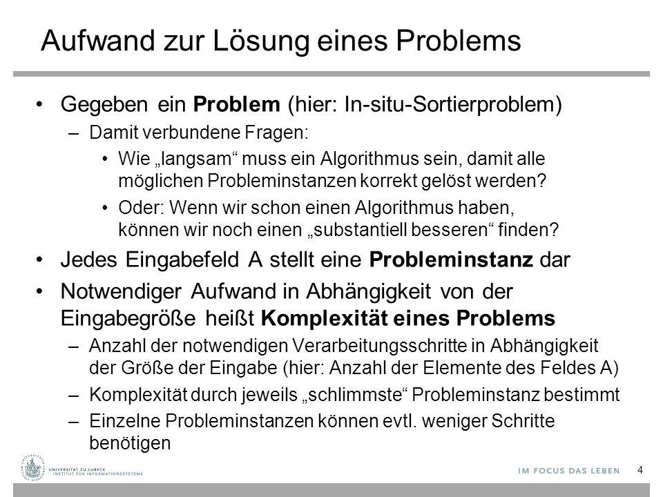 """Algorithmen Verfahren zur Berechnung eines Problems Für ein gegebenes Problem gibt es mehrere Algorithmen Unsere Aufgabe: –Verstehen von Algorithmen –Entwickeln von Algorithmen Verstehen: """"Idee (Entwurfsmuster) eines Algorithmus erläutern können –Beispiel: Sorge dafür, dass in einem """"Schritt ein Teil der Eingabe schon richtig behandelt wird, so dass der noch zu behandelnde Teil immer kleiner wird und am Ende verschwindet, so dass das Problem gelöst ist 5"""
