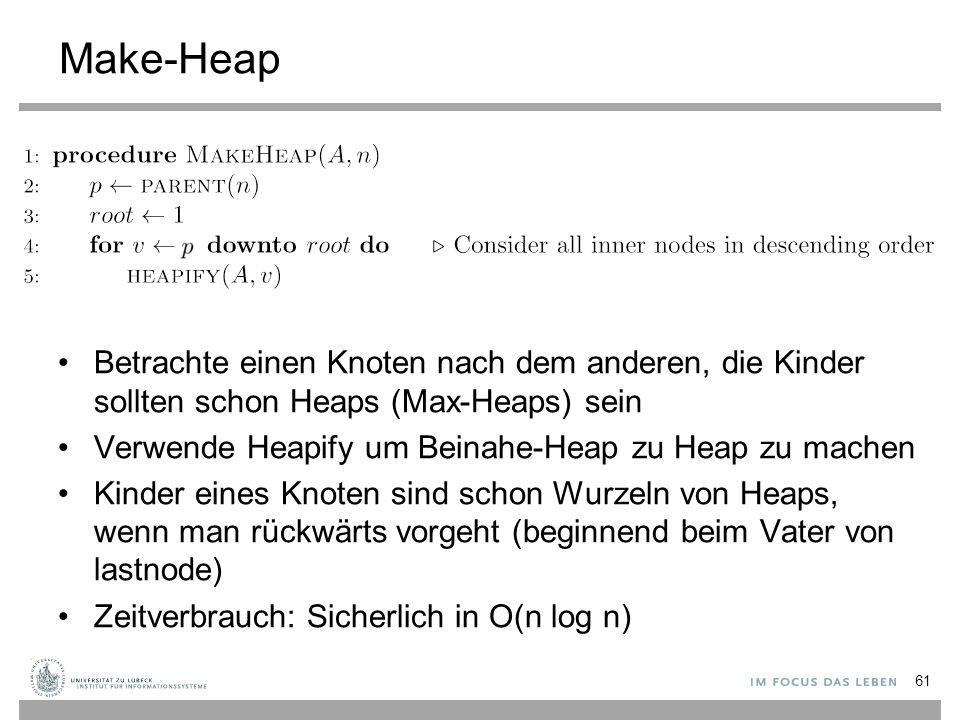 """Heapify 62 Statt """"Heapify wird oft auch der Ausdruck """"Einsieben verwendet."""