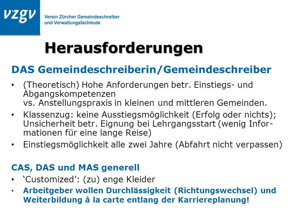 Herausforderungen DAS Gemeindeschreiberin/Gemeindeschreiber (Theoretisch) Hohe Anforderungen betr. Einstiegs- und Abgangskompetenzen vs. Anstellungspr