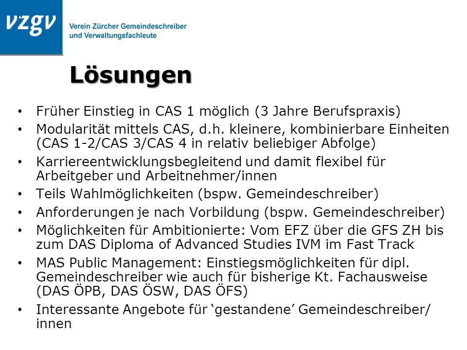 Lösungen Früher Einstieg in CAS 1 möglich (3 Jahre Berufspraxis) Modularität mittels CAS, d.h. kleinere, kombinierbare Einheiten (CAS 1-2/CAS 3/CAS 4