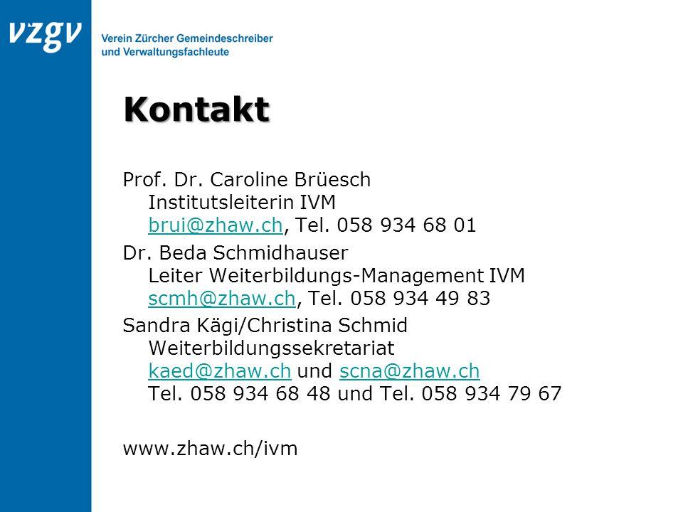Kontakt Prof. Dr. Caroline Brüesch Institutsleiterin IVM brui@zhaw.ch, Tel. 058 934 68 01 brui@zhaw.ch Dr. Beda Schmidhauser Leiter Weiterbildungs-Man