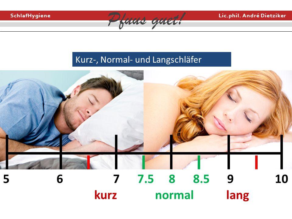 SchlafHygiene Lic.phil. André Dietziker Pfuus guet! Kurz-, Normal- und Langschläfer 5 6 7 7.5 8 8.5 9 10 kurz normal lang