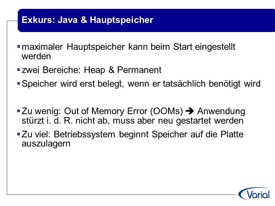 Exkurs: Java & Hauptspeicher  maximaler Hauptspeicher kann beim Start eingestellt werden  zwei Bereiche: Heap & Permanent  Speicher wird erst belegt, wenn er tatsächlich benötigt wird  Zu wenig: Out of Memory Error (OOMs)  Anwendung stürzt i.