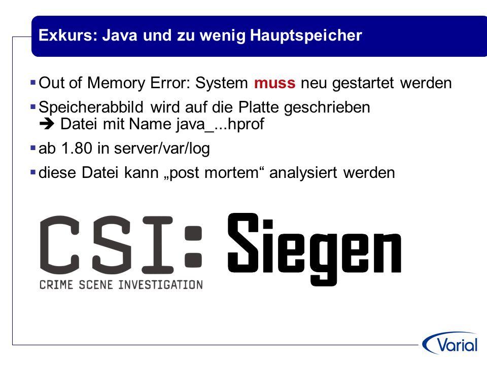 """Exkurs: Java und zu wenig Hauptspeicher  Out of Memory Error: System muss neu gestartet werden  Speicherabbild wird auf die Platte geschrieben  Datei mit Name java_...hprof  ab 1.80 in server/var/log  diese Datei kann """"post mortem analysiert werden"""