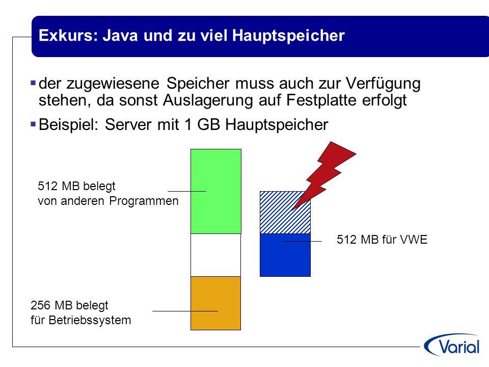 Exkurs: Java und zu viel Hauptspeicher  der zugewiesene Speicher muss auch zur Verfügung stehen, da sonst Auslagerung auf Festplatte erfolgt  Beispiel: Server mit 1 GB Hauptspeicher 256 MB belegt für Betriebssystem 512 MB belegt von anderen Programmen 512 MB für VWE