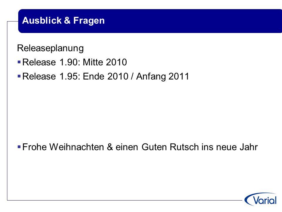 Ausblick & Fragen Releaseplanung  Release 1.90: Mitte 2010  Release 1.95: Ende 2010 / Anfang 2011  Frohe Weihnachten & einen Guten Rutsch ins neue Jahr