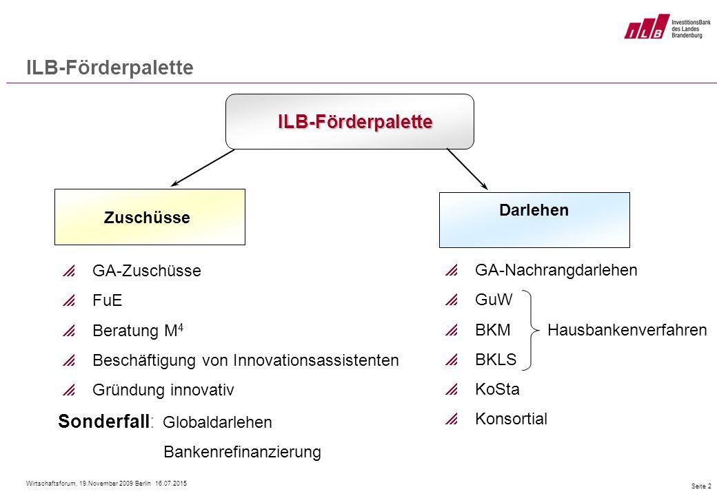 Wirtschaftsforum, 19.November 2009 Berlin 16.07.2015 Seite 2 ILB-Förderpalette ILB-Förderpalette Zuschüsse  GA-Zuschüsse  FuE  Beratung M 4  Besch