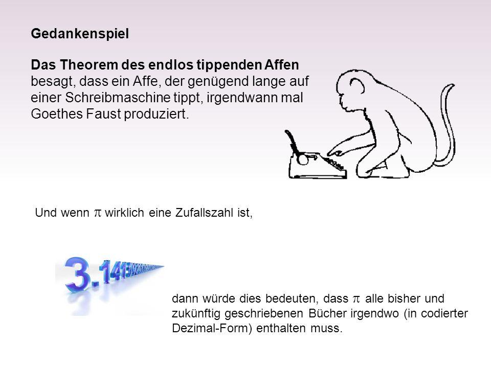 Das Theorem des endlos tippenden Affen besagt, dass ein Affe, der genügend lange auf einer Schreibmaschine tippt, irgendwann mal Goethes Faust produziert.