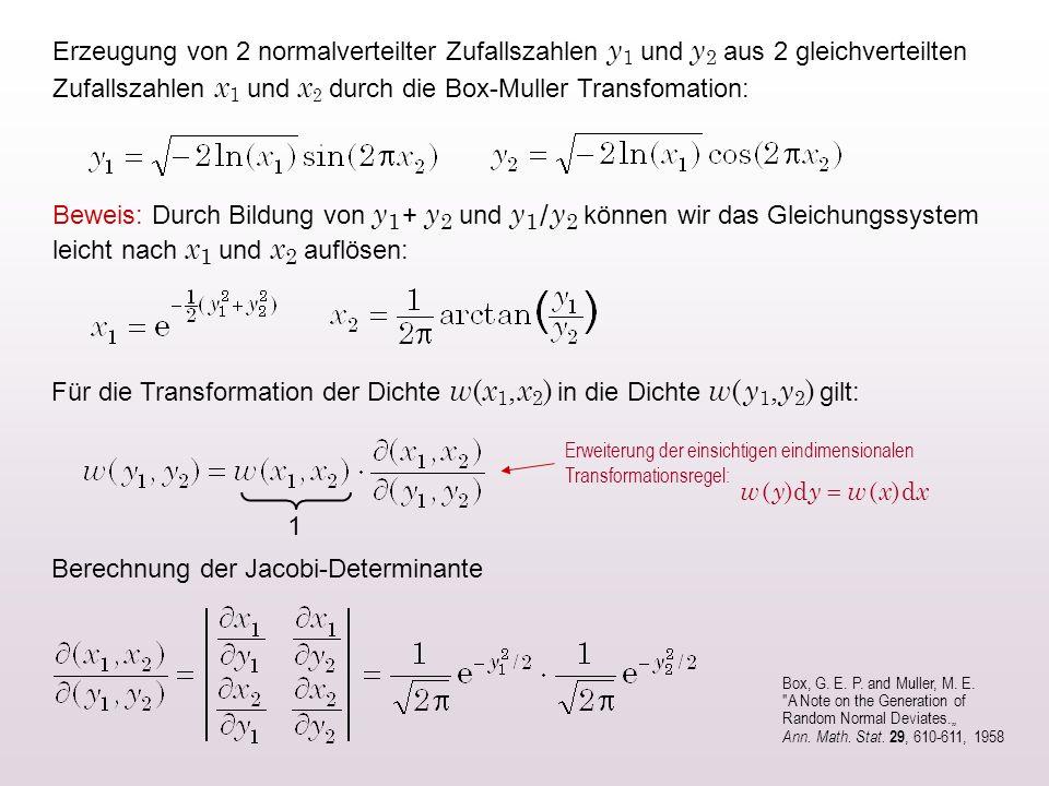 Erzeugung von 2 normalverteilter Zufallszahlen y 1 und y 2 aus 2 gleichverteilten Zufallszahlen x 1 und x 2 durch die Box-Muller Transfomation: Beweis: Durch Bildung von y 1 + y 2 und y 1 / y 2 können wir das Gleichungssystem leicht nach x 1 und x 2 auflösen: Berechnung der Jacobi-Determinante Box, G.