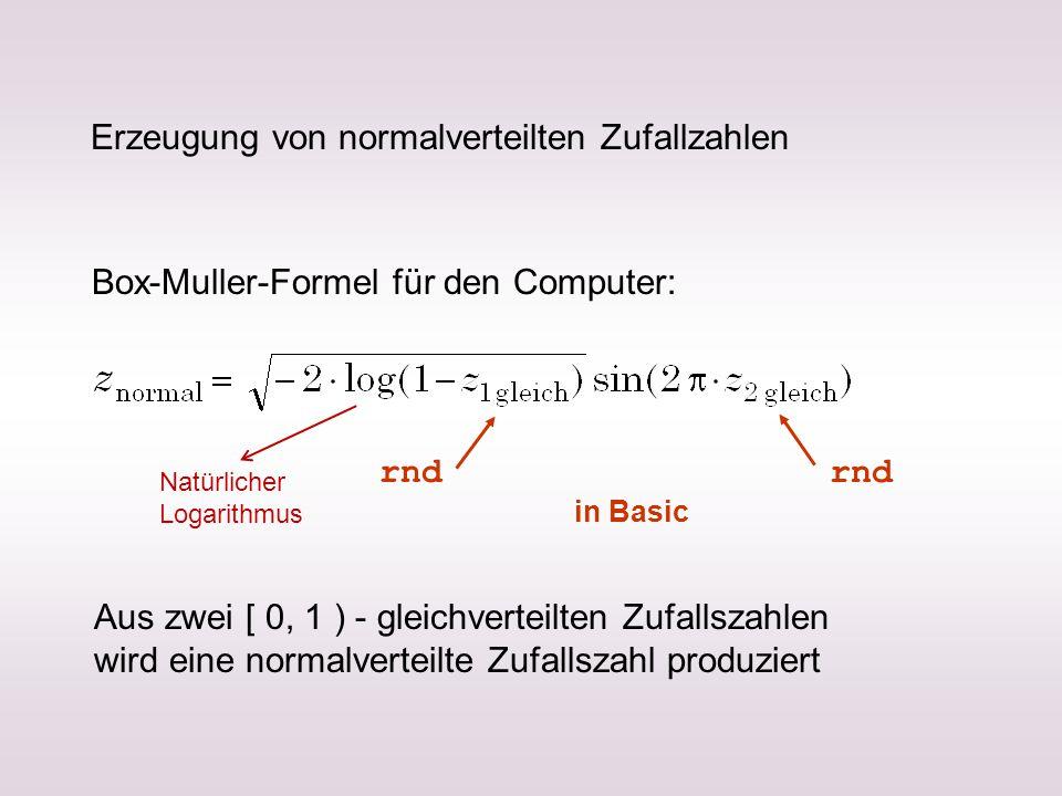 Erzeugung von normalverteilten Zufallzahlen Box-Muller-Formel für den Computer: Aus zwei [ 0, 1 ) - gleichverteilten Zufallszahlen wird eine normalverteilte Zufallszahl produziert rnd in Basic Natürlicher Logarithmus