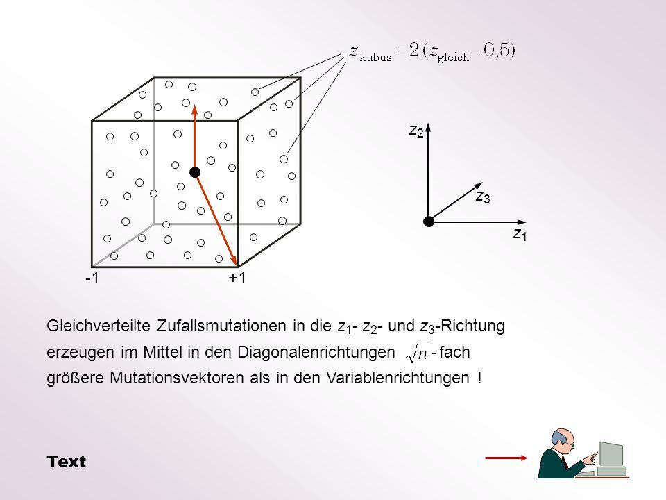Gleichverteilte Zufallsmutationen in die z 1 - z 2 - und z 3 -Richtung erzeugen im Mittel in den Diagonalenrichtungen - fach größere Mutationsvektoren als in den Variablenrichtungen .