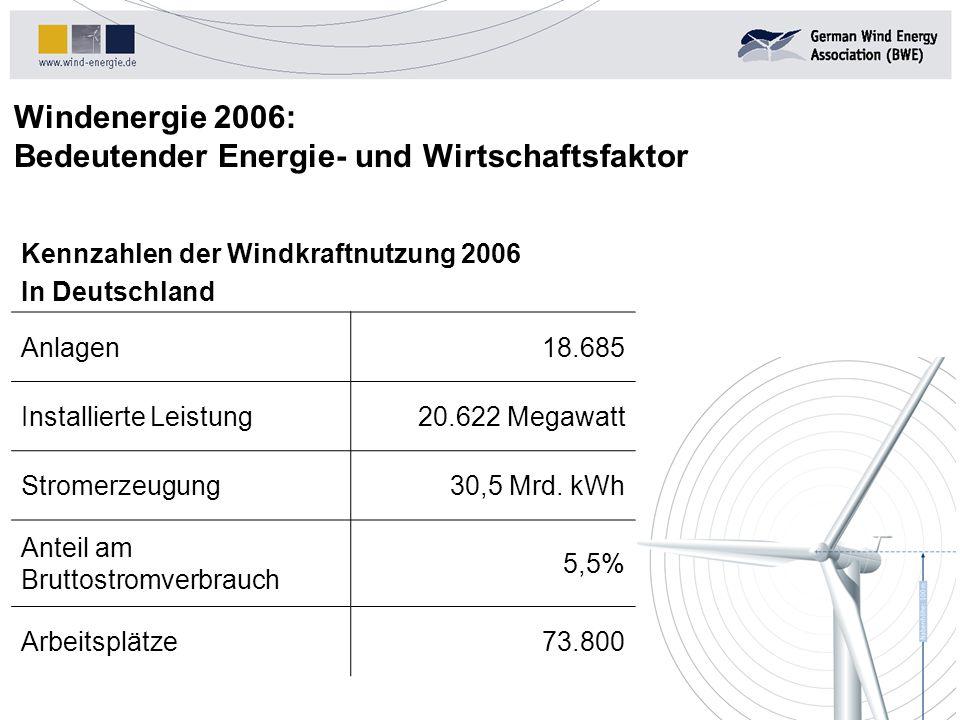 Windenergie 2006: Bedeutender Energie- und Wirtschaftsfaktor Kennzahlen der Windkraftnutzung 2006 In Deutschland Anlagen18.685 Installierte Leistung20.622 Megawatt Stromerzeugung30,5 Mrd.