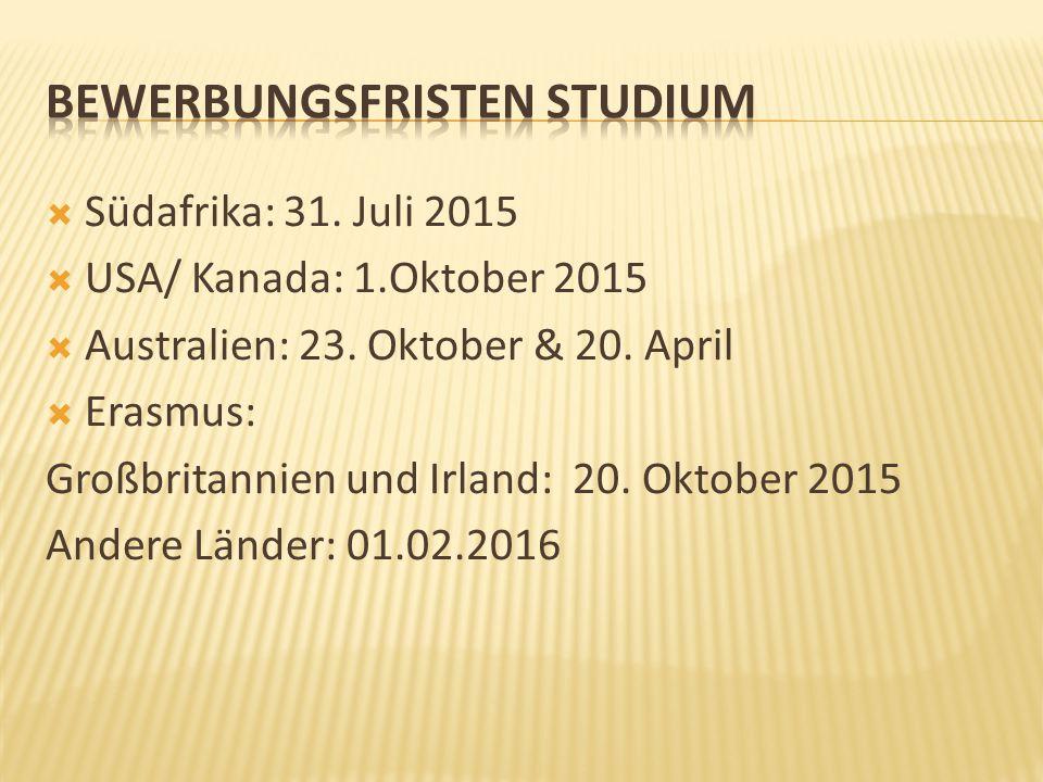  Südafrika: 31. Juli 2015  USA/ Kanada: 1.Oktober 2015  Australien: 23. Oktober & 20. April  Erasmus: Großbritannien und Irland: 20. Oktober 2015