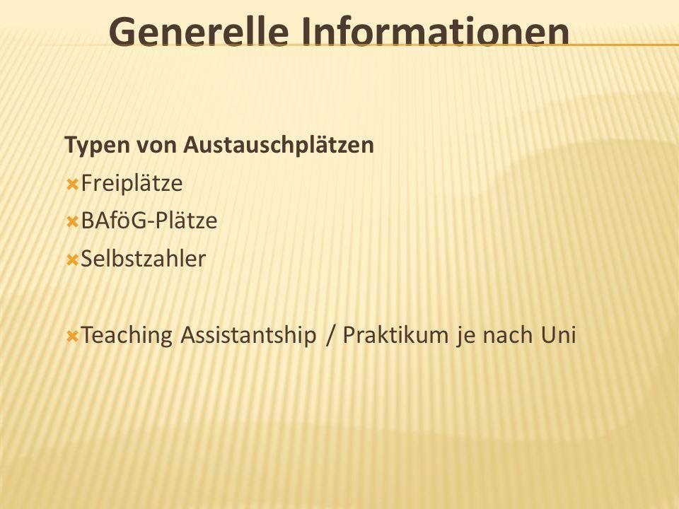 Generelle Informationen Typen von Austauschplätzen  Freiplätze  BAföG-Plätze  Selbstzahler  Teaching Assistantship / Praktikum je nach Uni