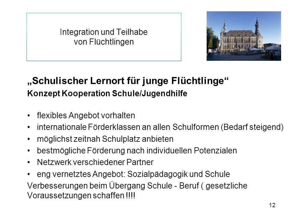 """12 Integration und Teilhabe von Flüchtlingen """"Schulischer Lernort für junge Flüchtlinge"""" Konzept Kooperation Schule/Jugendhilfe flexibles Angebot vorh"""