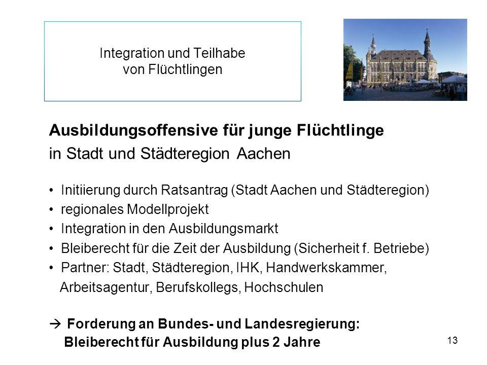 13 Integration und Teilhabe von Flüchtlingen Ausbildungsoffensive für junge Flüchtlinge in Stadt und Städteregion Aachen Initiierung durch Ratsantrag