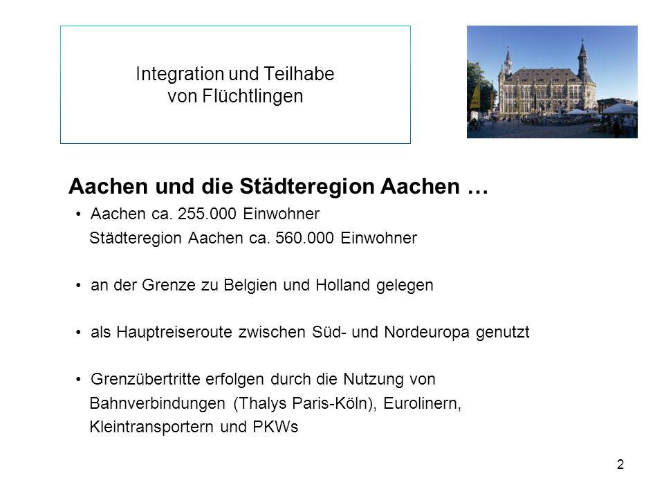 2 Integration und Teilhabe von Flüchtlingen Aachen und die Städteregion Aachen … Aachen ca. 255.000 Einwohner Städteregion Aachen ca. 560.000 Einwohne