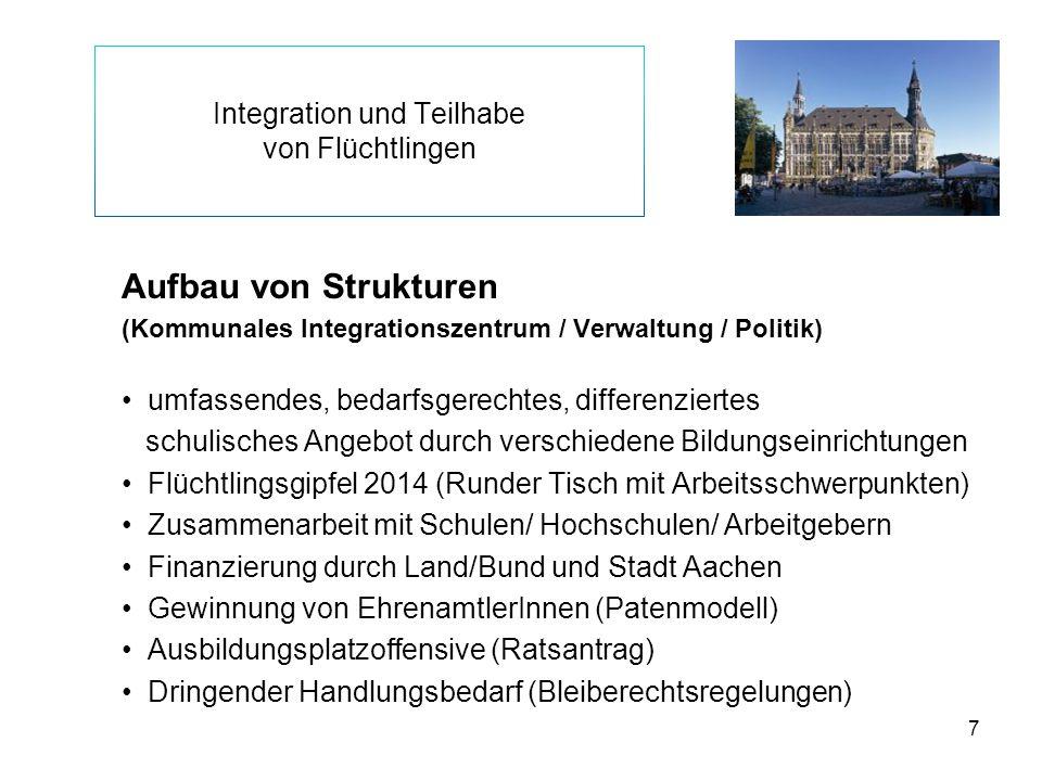 7 Integration und Teilhabe von Flüchtlingen Aufbau von Strukturen (Kommunales Integrationszentrum / Verwaltung / Politik) umfassendes, bedarfsgerechte
