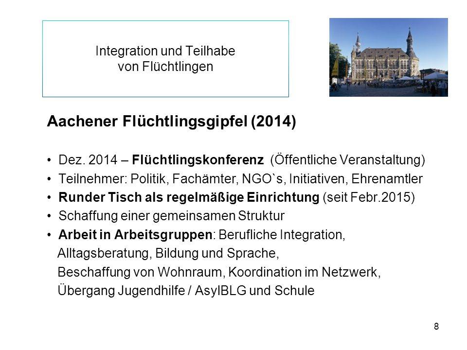 8 Integration und Teilhabe von Flüchtlingen Aachener Flüchtlingsgipfel (2014) Dez. 2014 – Flüchtlingskonferenz (Öffentliche Veranstaltung) Teilnehmer: