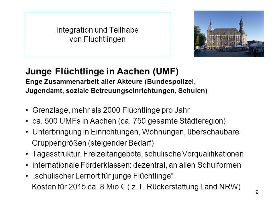 9 Integration und Teilhabe von Flüchtlingen Junge Flüchtlinge in Aachen (UMF) Enge Zusammenarbeit aller Akteure (Bundespolizei, Jugendamt, soziale Bet