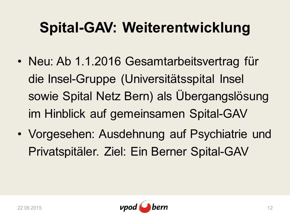 Spital-GAV: Weiterentwicklung Neu: Ab 1.1.2016 Gesamtarbeitsvertrag für die Insel-Gruppe (Universitätsspital Insel sowie Spital Netz Bern) als Übergan