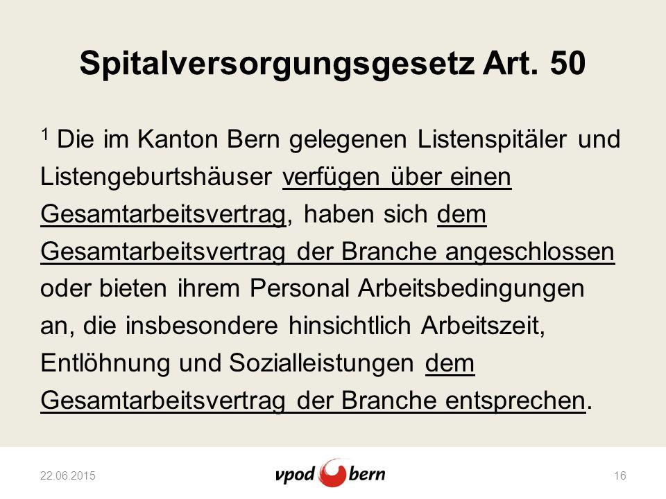 Spitalversorgungsgesetz Art. 50 1 Die im Kanton Bern gelegenen Listenspitäler und Listengeburtshäuser verfügen über einen Gesamtarbeitsvertrag, haben