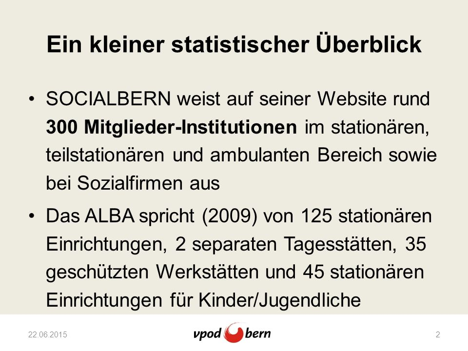 Ein kleiner statistischer Überblick SOCIALBERN weist auf seiner Website rund 300 Mitglieder-Institutionen im stationären, teilstationären und ambulant