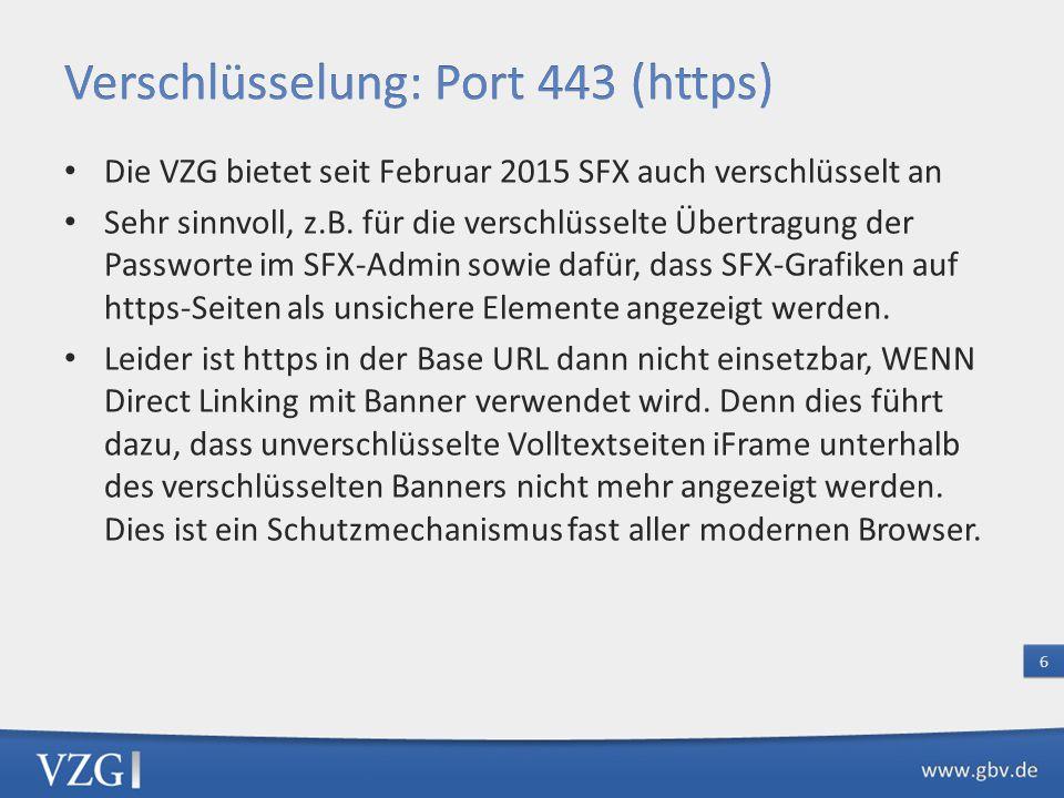 Die VZG bietet seit Februar 2015 SFX auch verschlüsselt an Sehr sinnvoll, z.B.