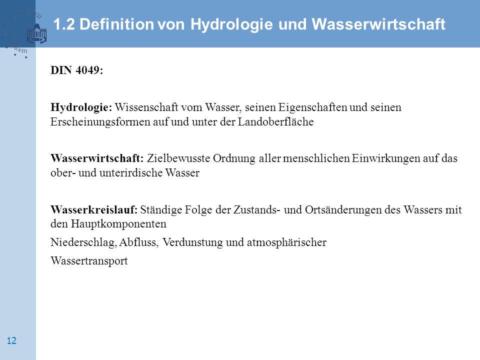 DIN 4049: Hydrologie: Wissenschaft vom Wasser, seinen Eigenschaften und seinen Erscheinungsformen auf und unter der Landoberfläche Wasserwirtschaft: Z