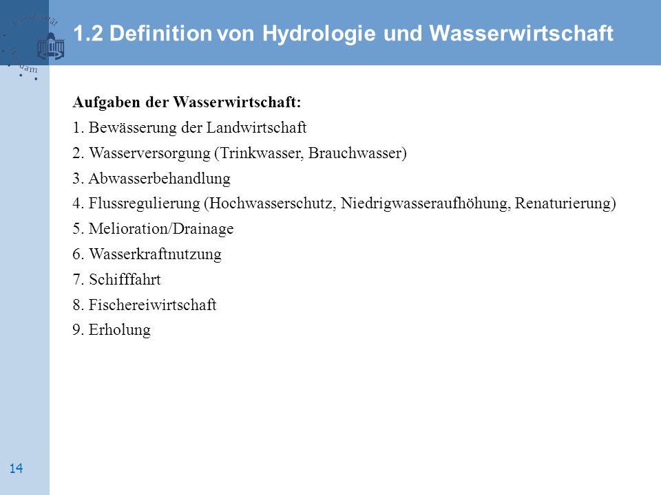 Aufgaben der Wasserwirtschaft: 1. Bewässerung der Landwirtschaft 2. Wasserversorgung (Trinkwasser, Brauchwasser) 3. Abwasserbehandlung 4. Flussregulie