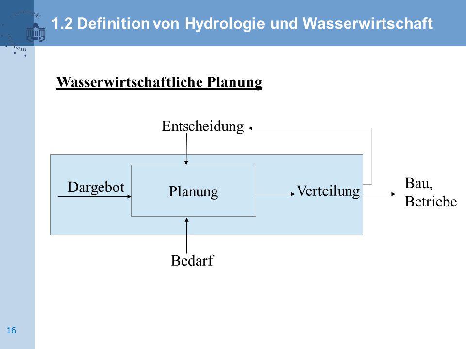 Wasserwirtschaftliche Planung Dargebot Entscheidung Bedarf Verteilung Planung Bau, Betriebe 1.2 Definition von Hydrologie und Wasserwirtschaft 16