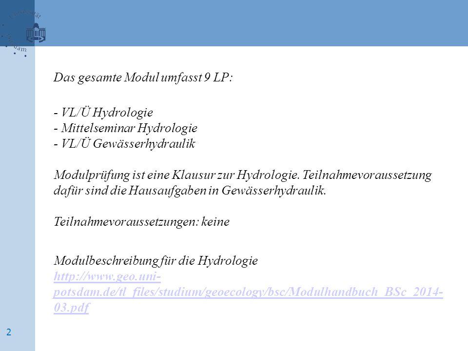 Das gesamte Modul umfasst 9 LP: - VL/Ü Hydrologie - Mittelseminar Hydrologie - VL/Ü Gewässerhydraulik Modulprüfung ist eine Klausur zur Hydrologie.