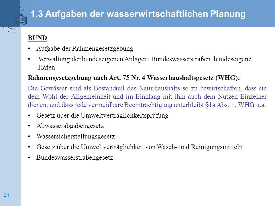 BUND Aufgabe der Rahmengesetzgebung Verwaltung der bundeseigenen Anlagen: Bundeswasserstraßen, bundeseigene Häfen Rahmengesetzgebung nach Art. 75 Nr.