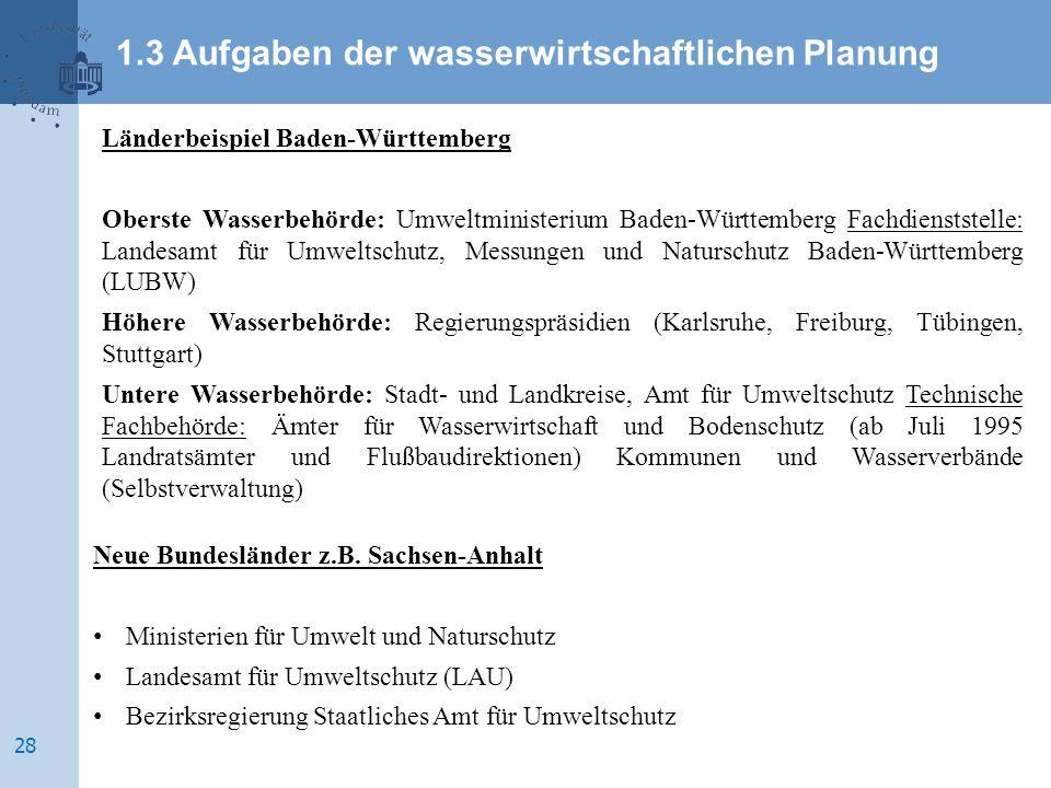 Länderbeispiel Baden-Württemberg Oberste Wasserbehörde: Umweltministerium Baden-Württemberg Fachdienststelle: Landesamt für Umweltschutz, Messungen un
