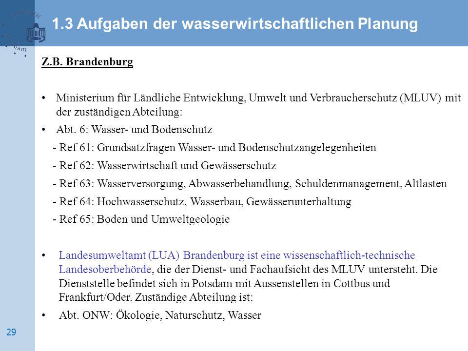 Z.B. Brandenburg Ministerium für Ländliche Entwicklung, Umwelt und Verbraucherschutz (MLUV) mit der zuständigen Abteilung: Abt. 6: Wasser- und Bodensc