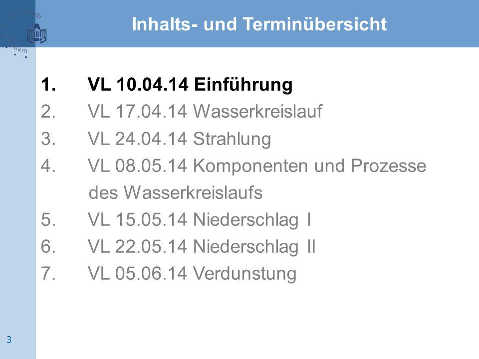Inhalts- und Terminübersicht 1.VL 10.04.14 Einführung 2.