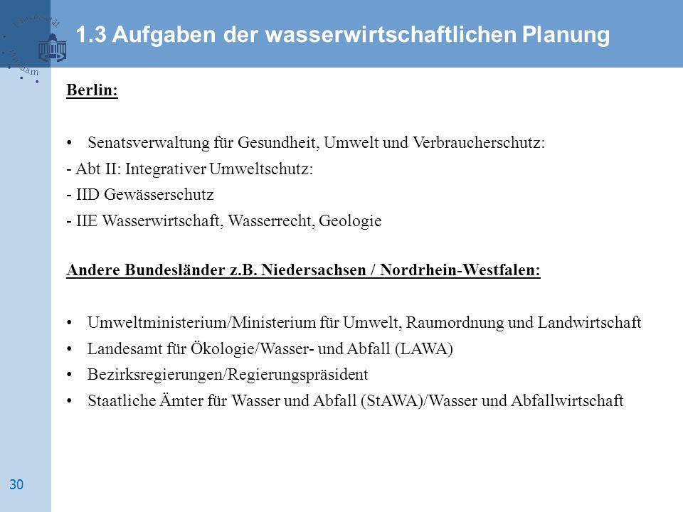 Berlin: Senatsverwaltung für Gesundheit, Umwelt und Verbraucherschutz: - Abt II: Integrativer Umweltschutz: - IID Gewässerschutz - IIE Wasserwirtschaft, Wasserrecht, Geologie Andere Bundesländer z.B.
