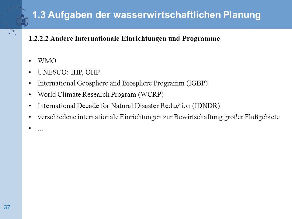 1.2.2.2 Andere Internationale Einrichtungen und Programme WMO UNESCO: IHP, OHP International Geosphere and Biosphere Programm (IGBP) World Climate Res