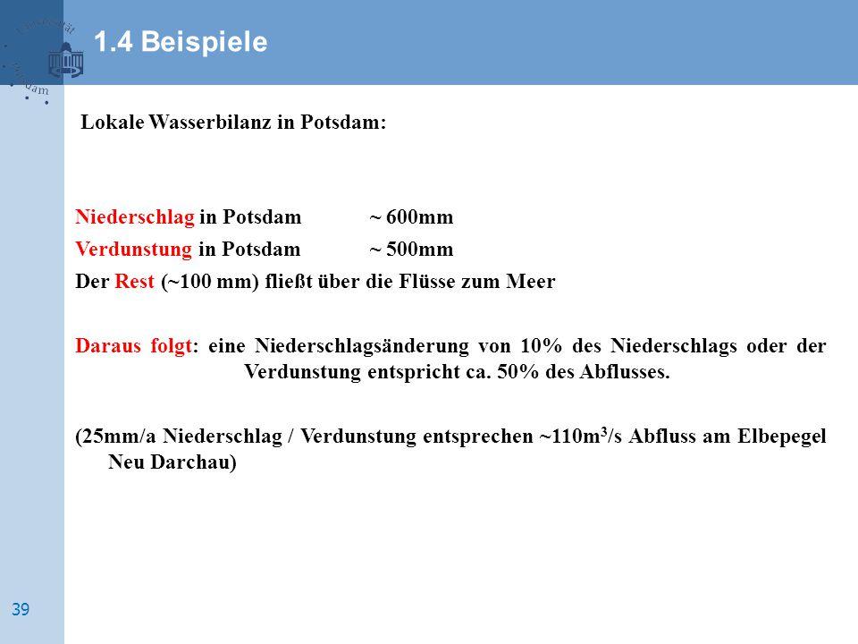 Lokale Wasserbilanz in Potsdam: Niederschlag in Potsdam~ 600mm Verdunstung in Potsdam~ 500mm Der Rest (~100 mm) fließt über die Flüsse zum Meer Daraus folgt: eine Niederschlagsänderung von 10% des Niederschlags oder der Verdunstung entspricht ca.