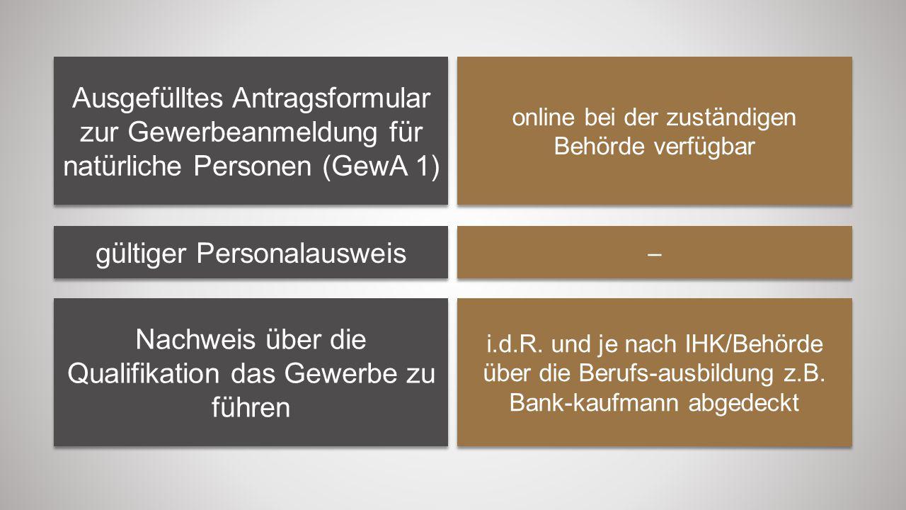 Ausgefülltes Antragsformular zur Gewerbeanmeldung für natürliche Personen (GewA 1) online bei der zuständigen Behörde verfügbar gültiger Personalauswe