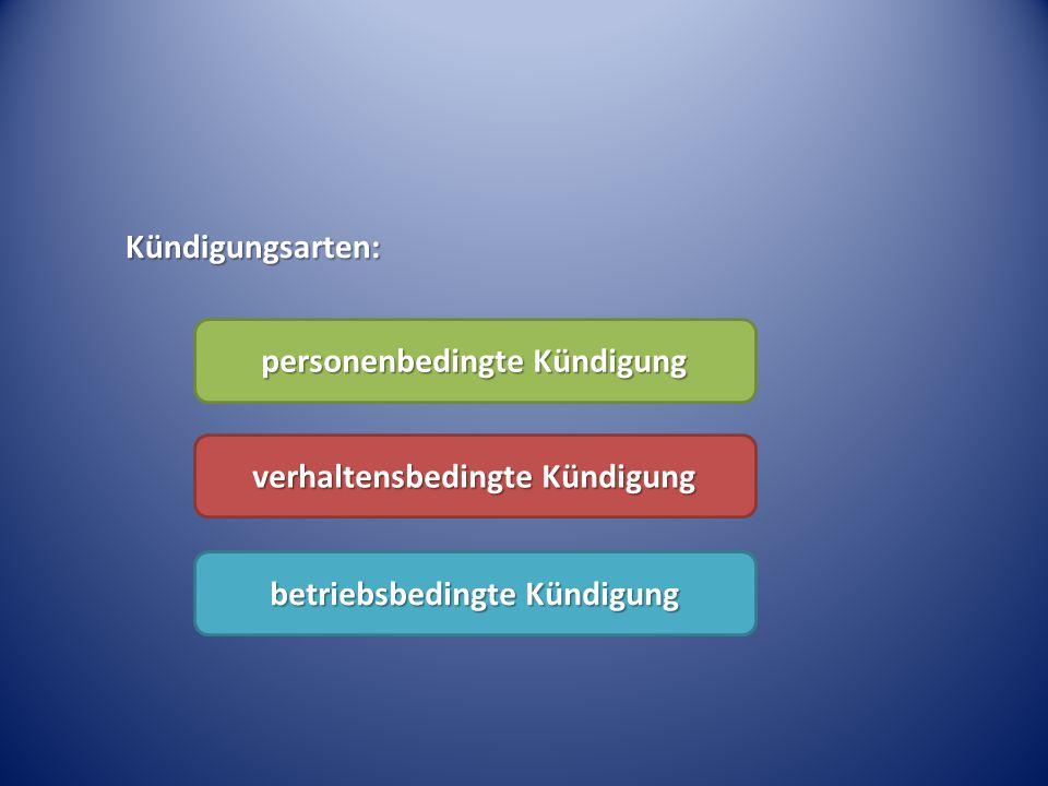 Kündigungsarten: personenbedingte Kündigung verhaltensbedingte Kündigung betriebsbedingte Kündigung