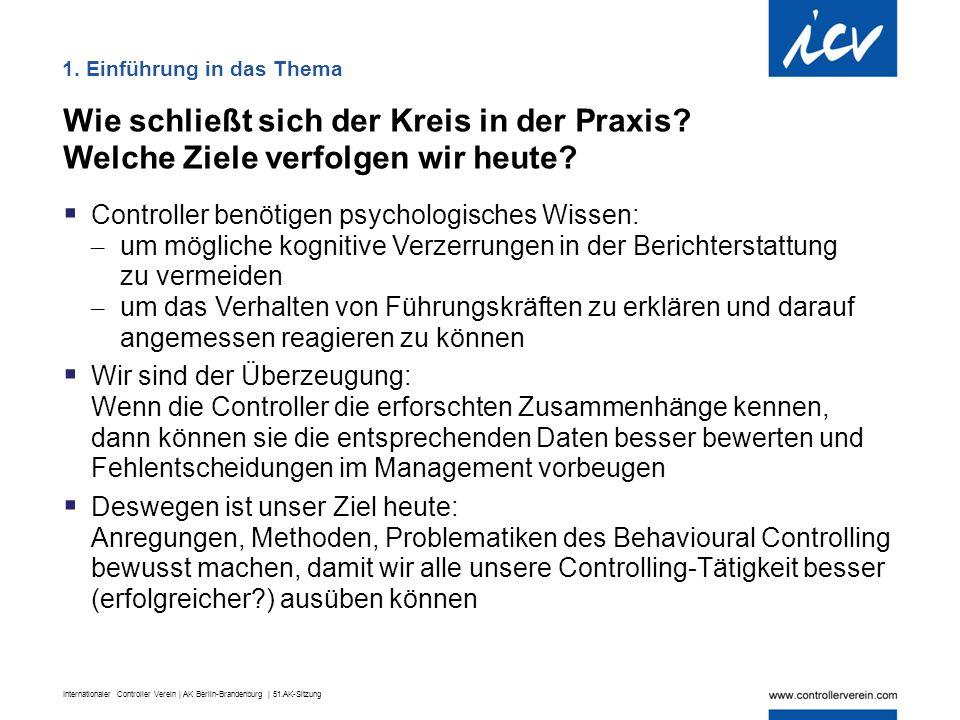 Internationaler Controller Verein | AK Berlin-Brandenburg | 51.AK-Sitzung 1. Einführung in das Thema Wie schließt sich der Kreis in der Praxis? Welche