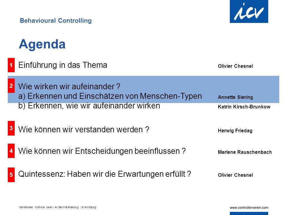 Internationaler Controller Verein | AK Berlin-Brandenburg | 51.AK-Sitzung 1 Einführung in das Thema Olivier Chesnel Wie wirken wir aufeinander ? a) Er