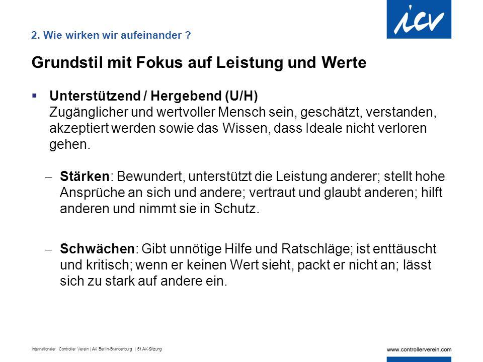 Internationaler Controller Verein | AK Berlin-Brandenburg | 51.AK-Sitzung Grundstil mit Fokus auf Leistung und Werte  Unterstützend / Hergebend (U/H)
