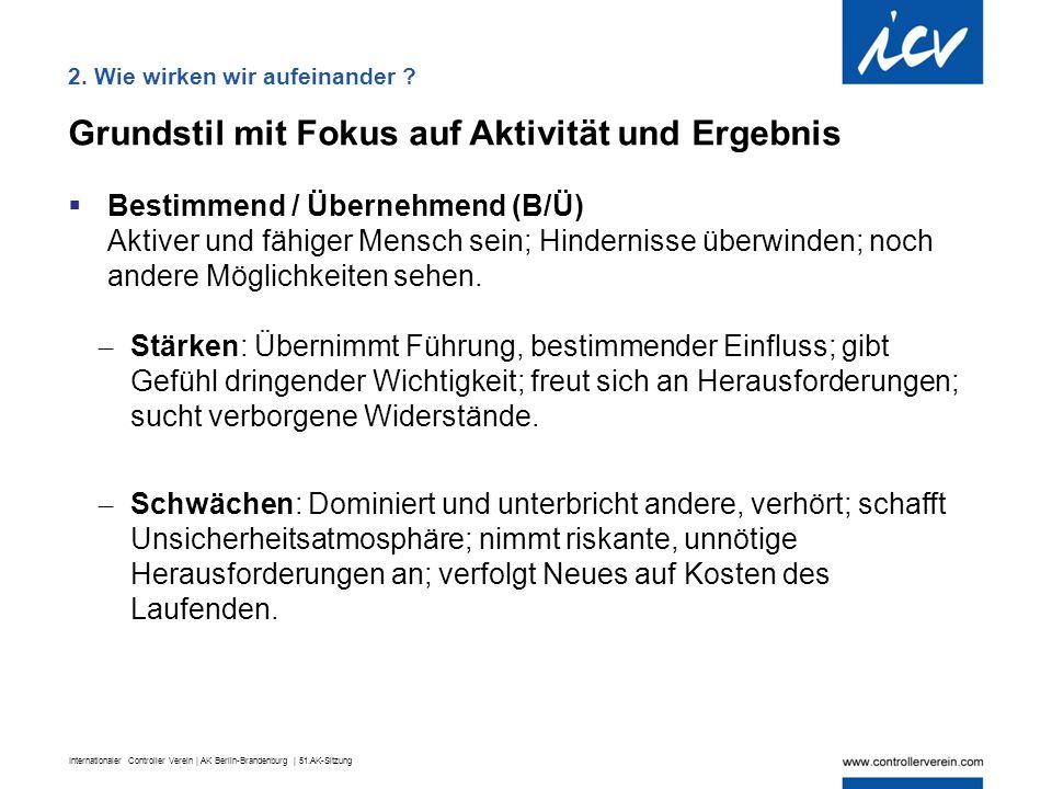 Internationaler Controller Verein | AK Berlin-Brandenburg | 51.AK-Sitzung Grundstil mit Fokus auf Aktivität und Ergebnis  Bestimmend / Übernehmend (B