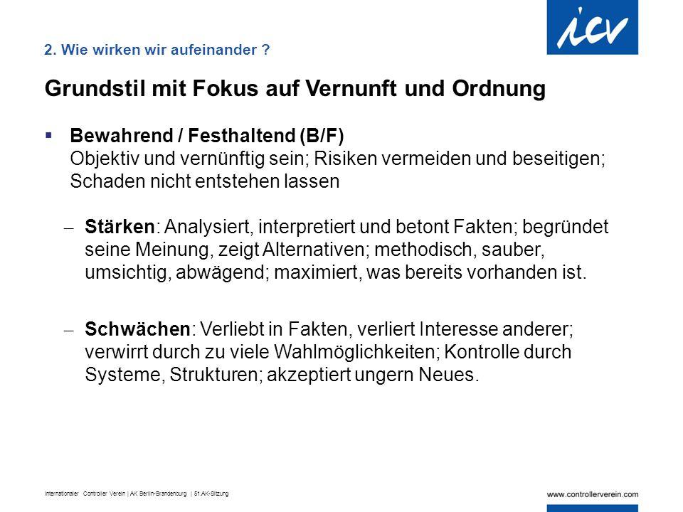 Internationaler Controller Verein | AK Berlin-Brandenburg | 51.AK-Sitzung Grundstil mit Fokus auf Vernunft und Ordnung  Bewahrend / Festhaltend (B/F)