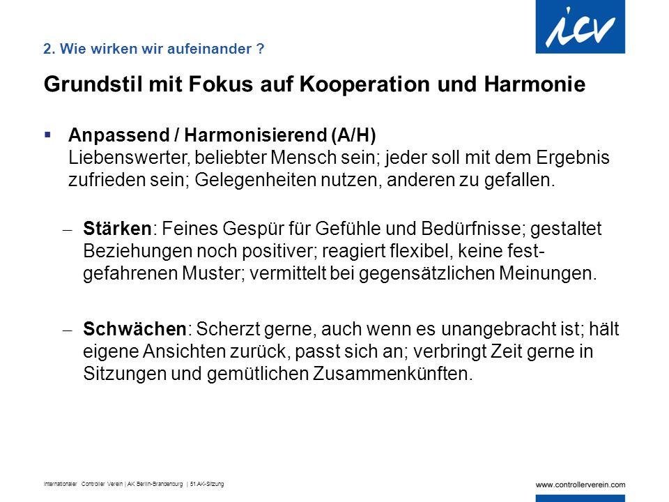 Internationaler Controller Verein | AK Berlin-Brandenburg | 51.AK-Sitzung Grundstil mit Fokus auf Kooperation und Harmonie  Anpassend / Harmonisieren