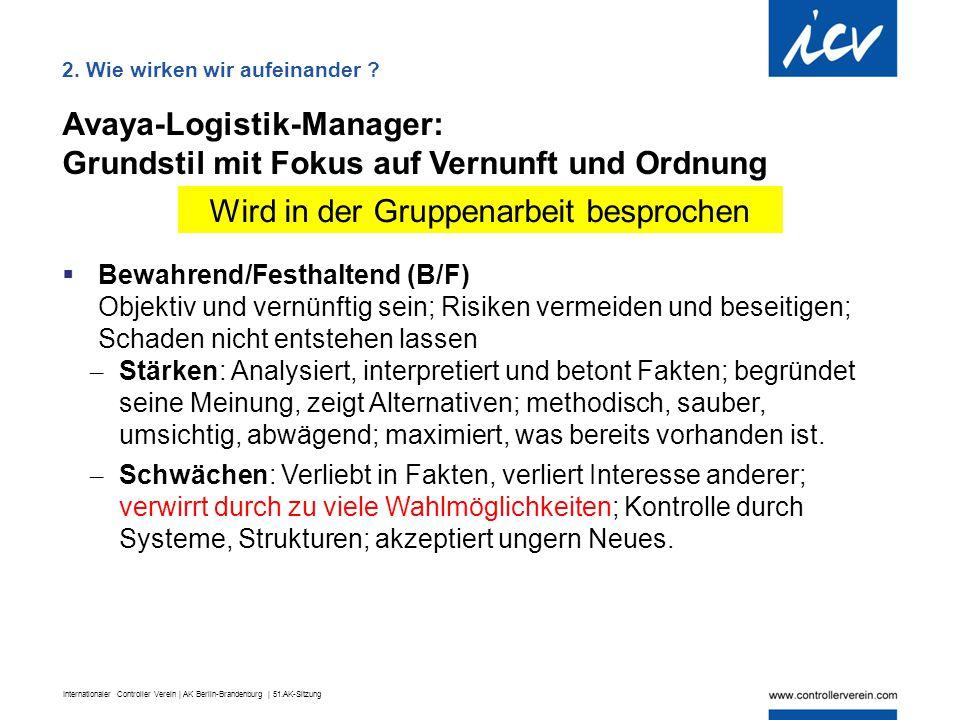 Internationaler Controller Verein | AK Berlin-Brandenburg | 51.AK-Sitzung Avaya-Logistik-Manager: Grundstil mit Fokus auf Vernunft und Ordnung  Bewah