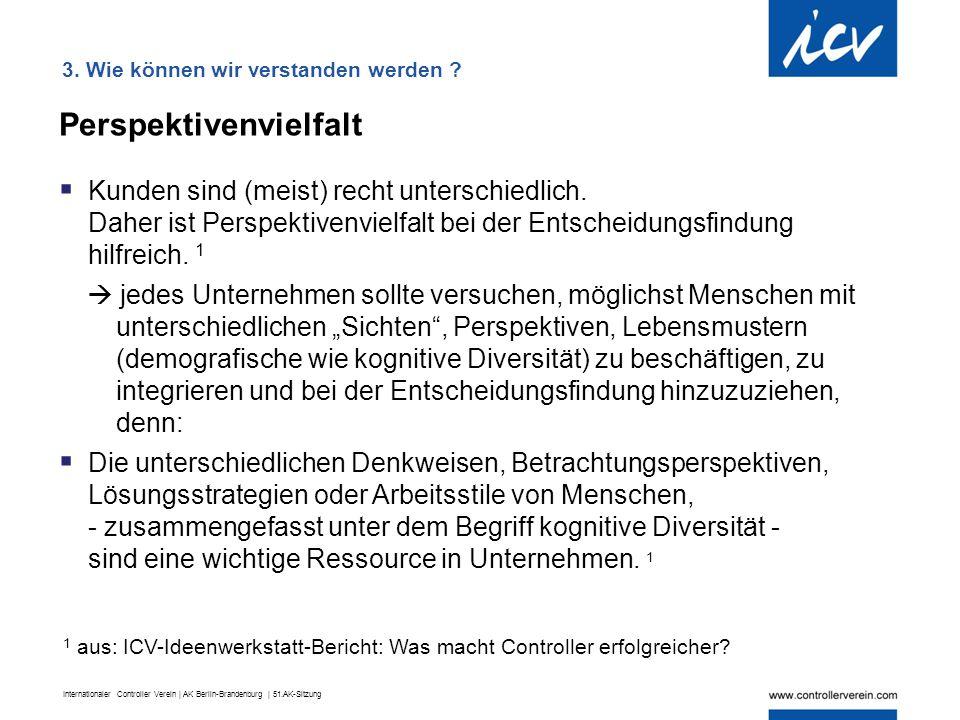 Internationaler Controller Verein | AK Berlin-Brandenburg | 51.AK-Sitzung Perspektivenvielfalt  Kunden sind (meist) recht unterschiedlich. Daher ist