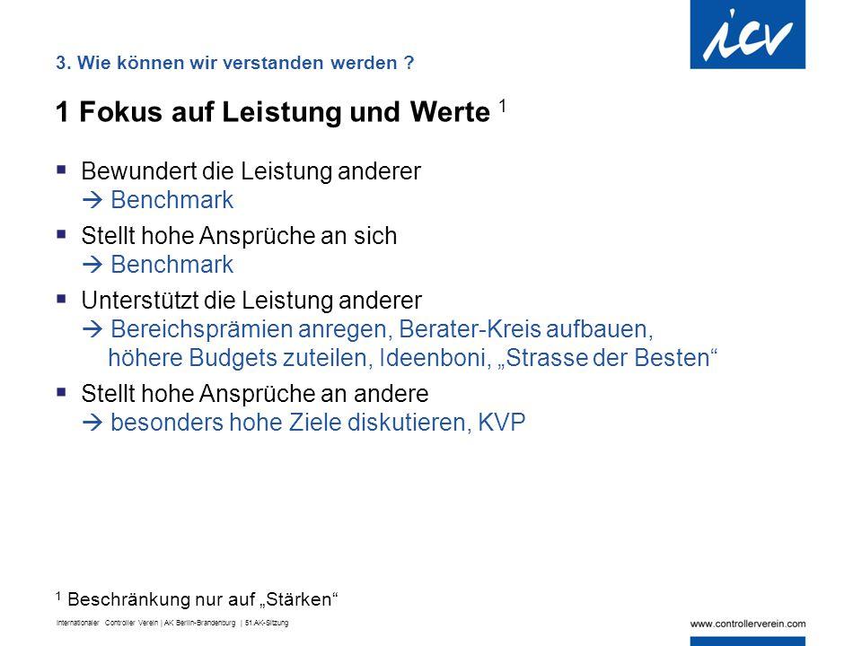 Internationaler Controller Verein | AK Berlin-Brandenburg | 51.AK-Sitzung 1 Fokus auf Leistung und Werte 1  Bewundert die Leistung anderer  Benchmar